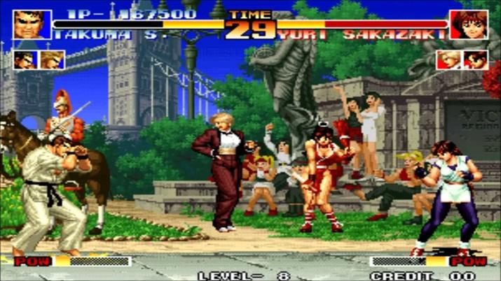 아랑전설과 용호의 권 캐릭터가 대거 참전한 KOF (사진출처: Moby Games)