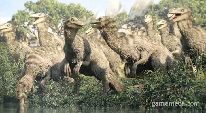 듀랑고에 나오는 털 난 랩터류 공룡들 (사진출처: 야생의 땅 듀랑고 오프닝 영상 갈무리)