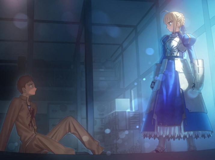 여성화된 아서 왕 아르토리아와 주인공 마술사 에미야 시로 (사진출처: 게임 내 CG 갈무리)