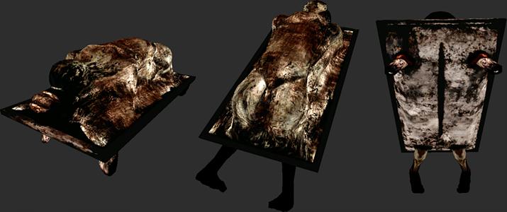 안젤라 오레스코에게 나타나는, 침대에서 자신을 강간하는 친부 모습이 그로테스크하게 형상화된 괴물 (사진출처: 사일런트 힐 팬덤 위키)