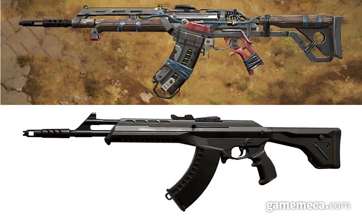 오리지널(아래)에 비교하면 총구 끝부분이 조금 긴데, 이게 불리하다고 (사진출처: 발로란트 공식 홈페이지)