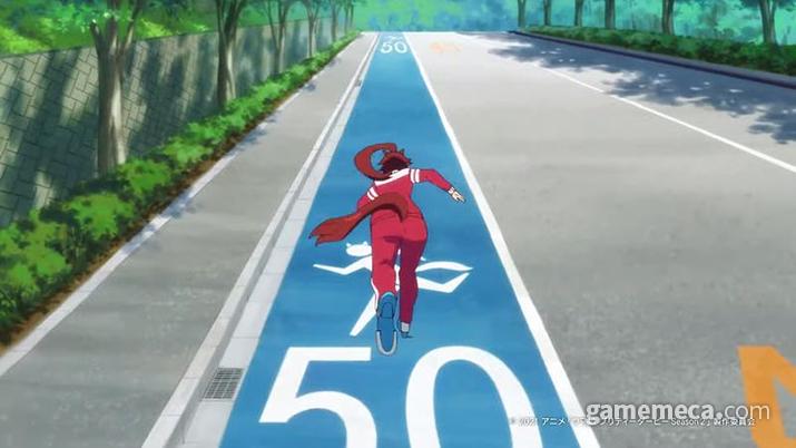주행속도 50km/h를 자랑하는 우마무스메 전용 주행도로가 따로 있을 정도 (사진출처: 우마무스메: 프리티 더비OVA 공식 유튜브 캡처)