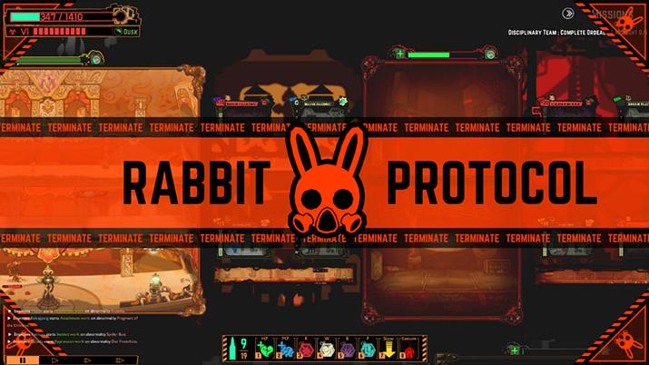 토끼 방독면을 쓴 용병 부대 서비스를 상품으로 삼는 'R사' (사진출처: 게임 내 이미지 갈무리)