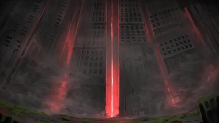 정체불명의 연기를 뿜어내다 숙청된 에너지 대기업 (사진출처: 게임 내 이미지 갈무리)