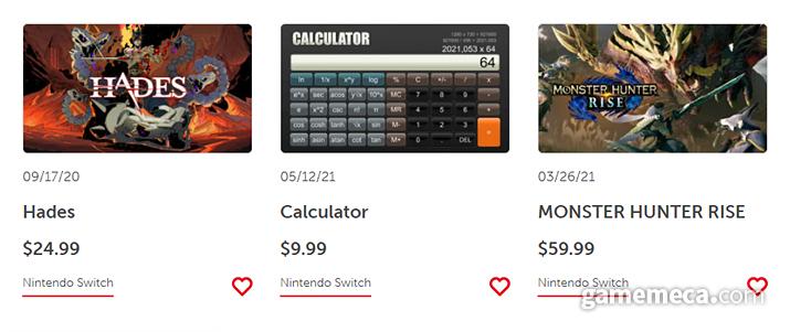 닌텐도 스위치 e숍에 추가된 계산기 앱 (사진출처: 닌텐도 e숍)