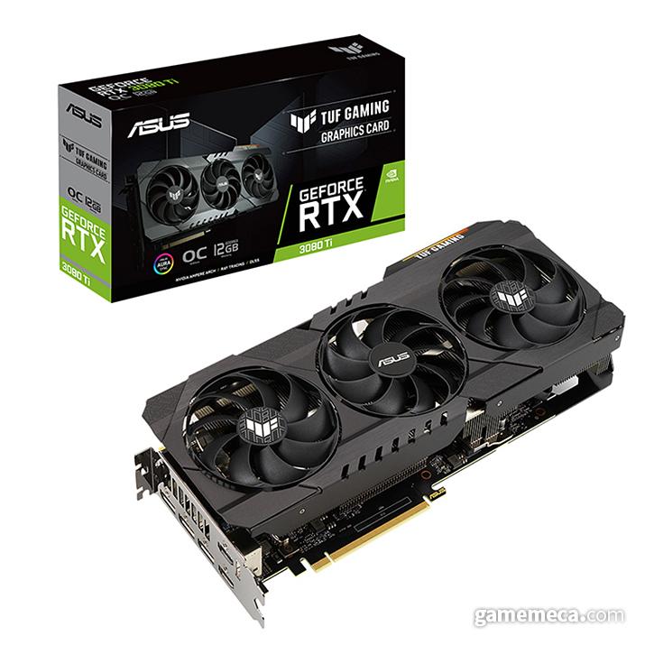 RTX 3080 Ti 기반 ROG STRIX(위)와 TUF Gaming(아래) (사진제공: 인텍앤컴퍼니)