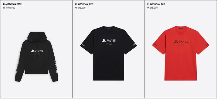 PS5x발렌시아가 후드티 및 티셔츠 (사진출처: 발렌시아가 국내 홈페이지)
