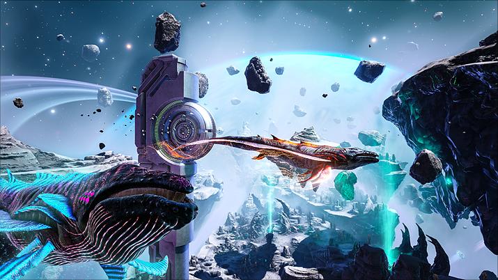 시뮬레이션이라는 설정 덕분에 우주공간도 나오고, 우주고래도 나온다 (사진출처: 스팀)