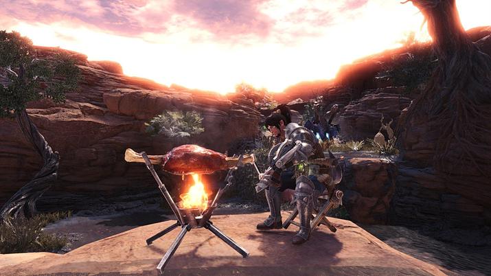 고기를 구워 먹는 것은 헌터의 로망이지만... (사진출처: 몬헌 월드 위키)