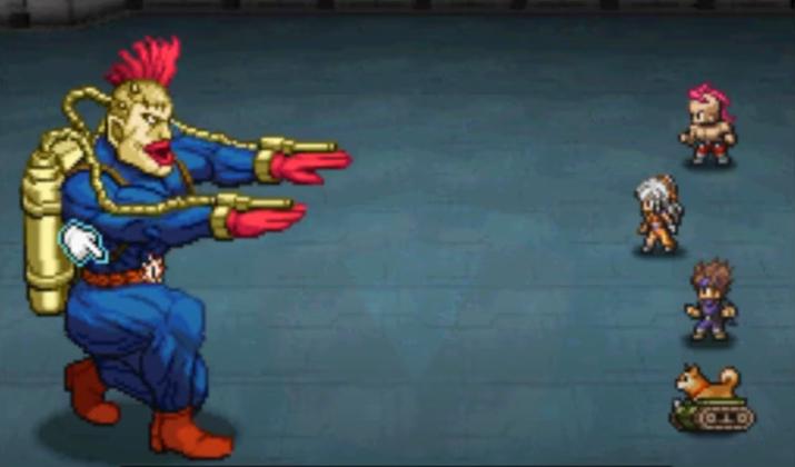 파란 쫄쫄이에 빨간 모히칸, 화염방사기를 맨 저 분이 간호사라고? (사진출처: 유튜브 GreatKingErebus 채널 영상 갈무리)