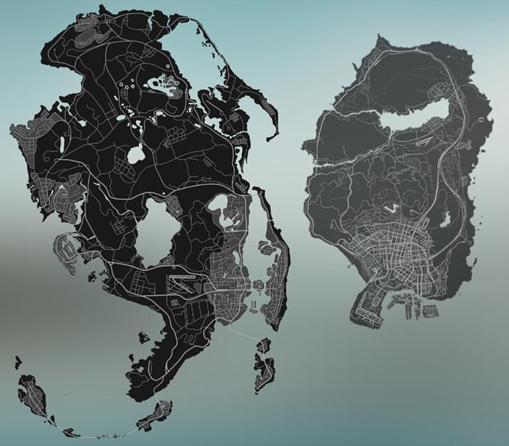 유출된 맵과 5편의 로스 산토스를 비교한 사진 (사진출처: 레딧 공식 홈페이지)