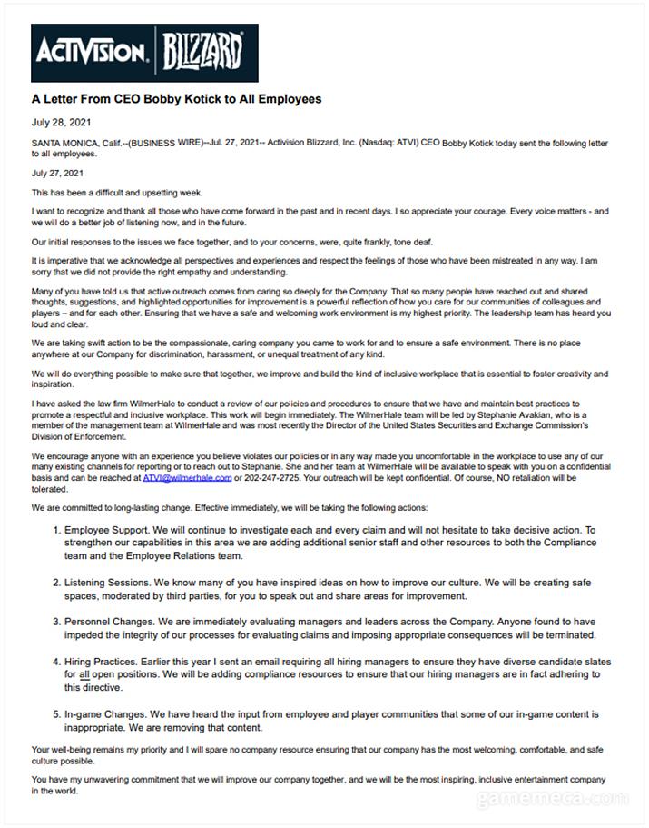 바비 코틱 CEO 성명 전문(출처: 액티비전 블리자드 IR 홈페이지)