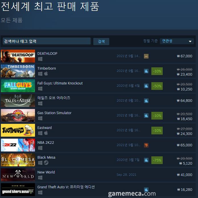 9월 16일 오전 11시 53분 기준 스팀 전세계 최고 판매 순위 (자료출처: 스팀 공식 페이지)