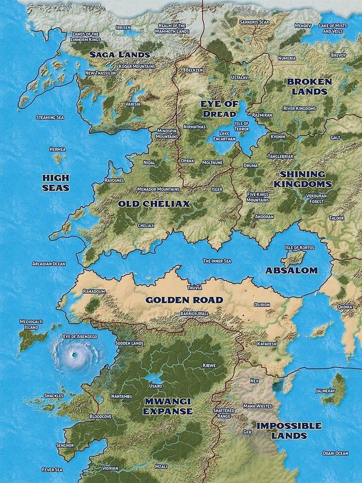 골라리온의 대륙 중 하나인 '아비스탄'만 해도 상당히 넓고 오밀조밀한데, 전체 세계로 따지면 작은 일부에 불과하다 (사진출처: 파이조 공식 홈페이지)
