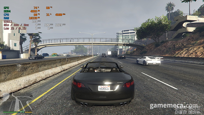 차를 타고 이동하는 과정에서 문제가 없는 모습 (사진: 게임메카 촬영)