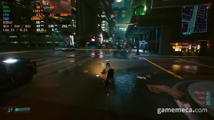 화려한 나이트시티의 밤 (사진: 게임메카 촬영)