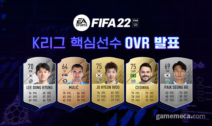 피파 22에 구현된 K리그 핵심 선수들 오버롤 능력치 (사진제공: EA코리아)