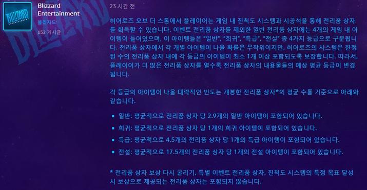 '히어로즈 오브 더 스톰' 전리품 상자 확률 (사진출처: 공식 홈페이지)