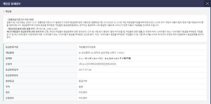 '뉴 단간론파 V3' 심의 결과 (사진출처: 게임물관리위원회 홈페이지)