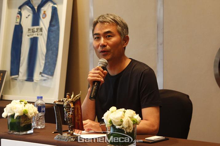 수 차례 저작권자로서 권익 보호를 주장한 위메이드 장현국 대표 (사진: 게임메카 촬영)