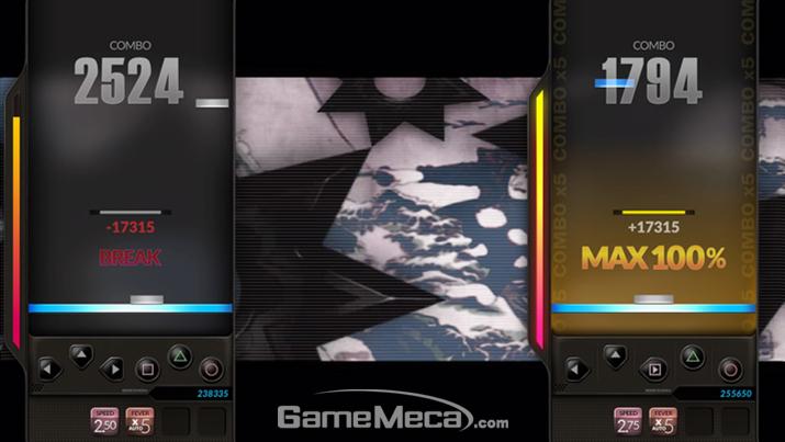 (사진03-4, 03-5) 2인 모드 곡 선택 및 플레이 화면