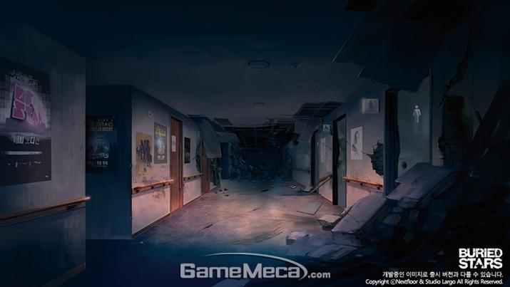 베리드 스타즈의 무대가 될 무너진 건물 일러스트 (사진제공: 라인게임즈)