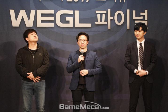 'WEGL 2017'에 참여하는 '스타크래프트' 프로게이머 이영호(왼쪽), '철권' 프로게이머 '무릎' 배재민(가운데), '마인크래프트' 스트리머 '악어(오른쪽)' (사진: 게임메카 촬영)