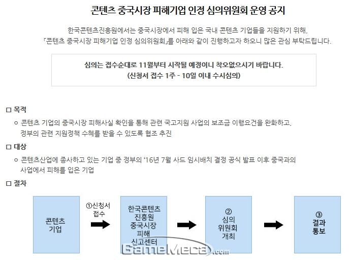 사드 피해사실 심의위원회 공지 (사진출처: 한국콘텐츠진흥원)
