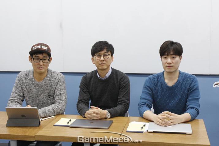 인터뷰에 임한 펄어비스 하석호 PM, 허진영 COO, 이호준 PM (사진: 게임메카 촬영)