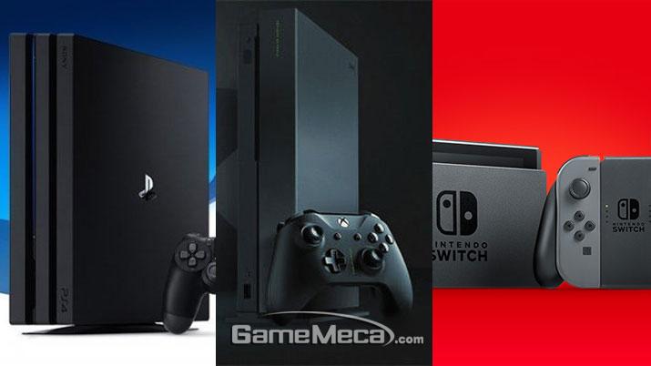 왼쪽부터 PS4 Pro, Xbox One X, 닌텐도 스위치