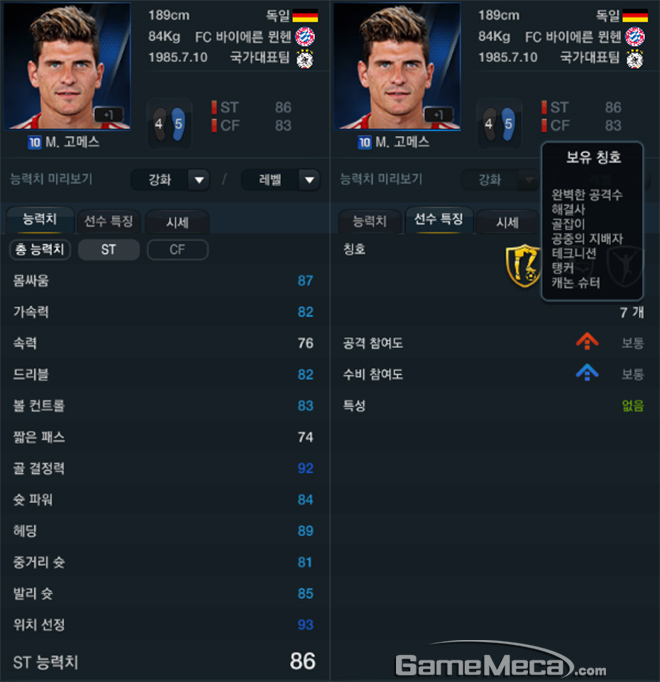 10유로 마리오 고메스 ST 포지션 기준 주요 능력치와 선수 특징